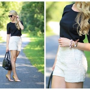 Express Beige High Rise Crochet Lace Shorts